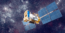 A communications satellite is an artificial satellite placed in the space for telecoms needs.